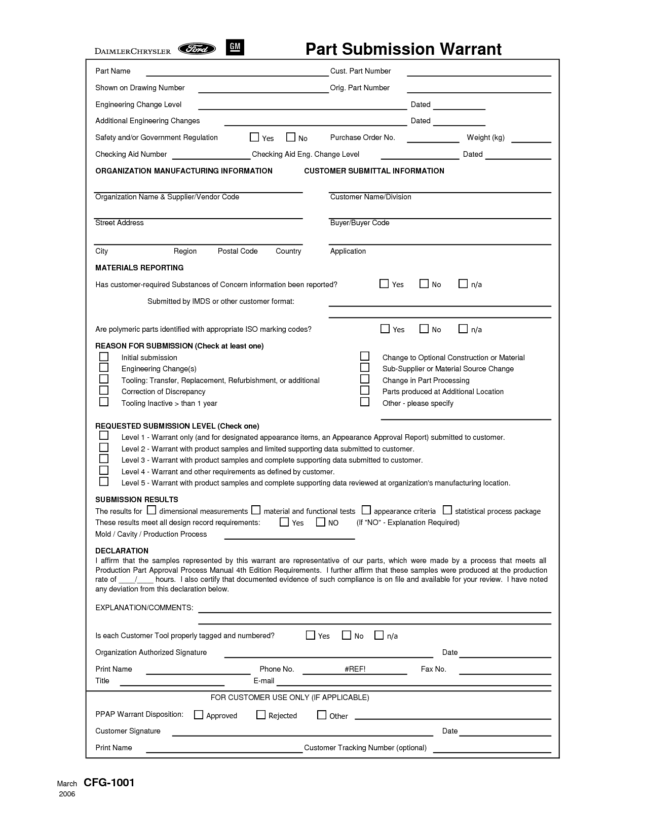PSW Part Submision Warrant